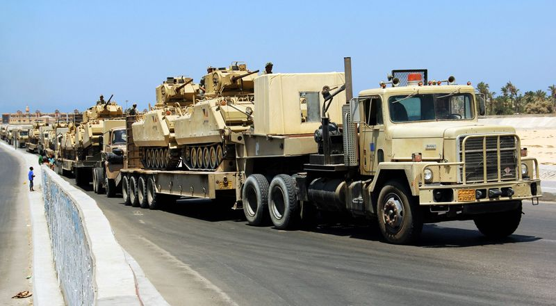 Egyptian military tanks are moved into the northern Sinai Peninsula, where Bedouin leaders are pushing to take matters in their own hands and urging the government to arm their tribesmen for security. (Associated Press)