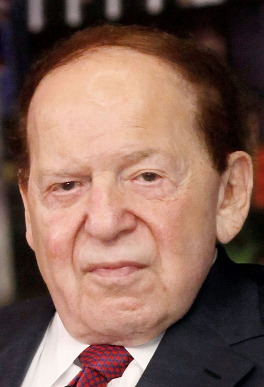 ** FILE ** In this April 12, 2012, file photo, Las Vegas Sands Chairman and CEO Sheldon Adelson speaks at a news conference for the Sands Cotai Central in Macau. (AP Photo/Kin Cheung, File)