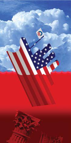 Illustration Sinking Debt by Alexander Hunter for The Washington Times
