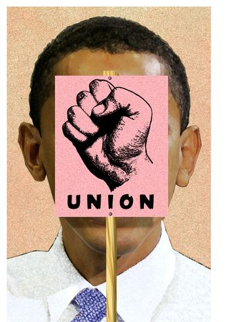 Illustration Obama's Unions by Alexander Hunter for The Washington Times