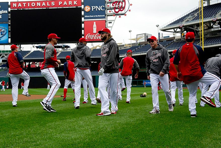 The Washington Nationals work out at Nationals Park on Tuesday, Oct. 9, 2012. On Wednesday they play the Saint Louis Cardinals at home. (Barbara L. Salisbury/The Washington Times)