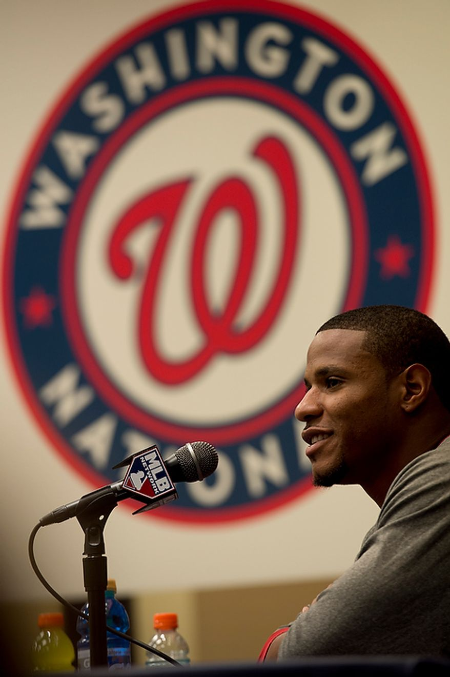 Washington Nationals pitcher Edwin Jackson talks to the media during a press conference at Nationals Park on Tuesday, Oct. 9, 2012. On Wednesday, they play the St. Louis Cardinals at home. (Barbara L. Salisbury/The Washington Times)