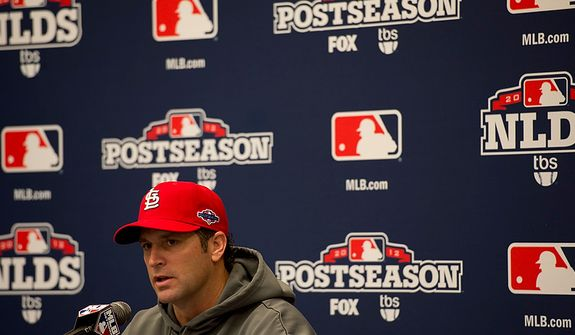 Saint Louis Cardinals manager Mike Matheny talks to the media during a press conference at Nationals Park on Tuesday, Oct. 9, 2012. On Wednesday, they play the St. Louis Cardinals at home. (Barbara L. Salisbury/The Washington Times)