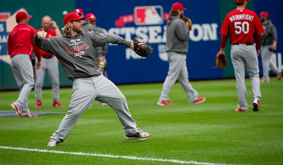 Saint Louis Cardinals players work out at Nationals Park on Tuesday, Oct. 9, 2012. On Wednesday, they play the St. Louis Cardinals at home. (Barbara L. Salisbury/The Washington Times)