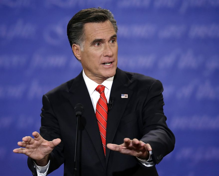 **FILE** Republican presidential candidate Mitt Romney speaks Oct. 3, 2012, during the first presidential debate with President Obama at the University of Denver. (Associated Press)
