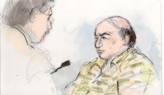 **FILE** Mark Basseley Youssef (right) talks with his attorney, Steven Seiden, in a courtroom sketch from Sept. 27, 2012. (Associated Press)