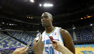Emeka Okafor was traded from the Hornets to the Wizards in June 2012. (Associated Press)