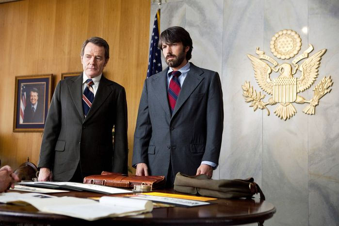 "This film image released by Warner Bros. Pictures shows Bryan Cranston, left, as Jack OíDonnell and Ben Affleck as Tony Mendez in ""Argo,""  a rescue thriller about the 1979 Iranian hostage crisis. (AP Photo/Warner Bros., Claire Folger)"
