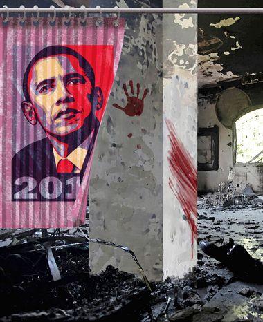 Illustration Obama's Libya by Alexander Hunter for The Washington Times