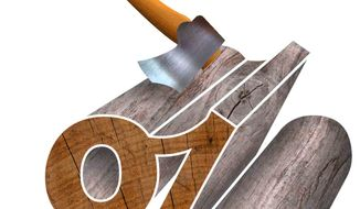 Illustration Budget Axe by Greg Groesch for The Washington Times
