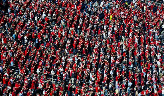The stands at Nationals Park are filled with red in support of the Washington Nationals during the third game in the National League Division Series on Wednesday, Oct. 10, 2012. More than 45,000 fans attended the game. (Barbara L. Salisbury/The Washington Times)