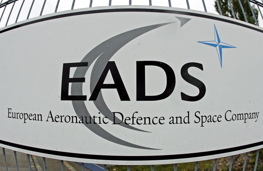 The EADS logo is displayed at a company facility in Augsburg, Germany, in 2007. (AP Photo/dapd, Clemens Bilan)