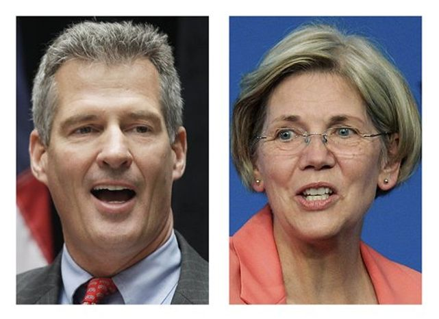 ** FILE ** These 2012 file photos show incumbent Sen. Scott Brown, R-Mass., left, and Democratic challenger Elizabeth Warren, in Boston. (AP File Photos)