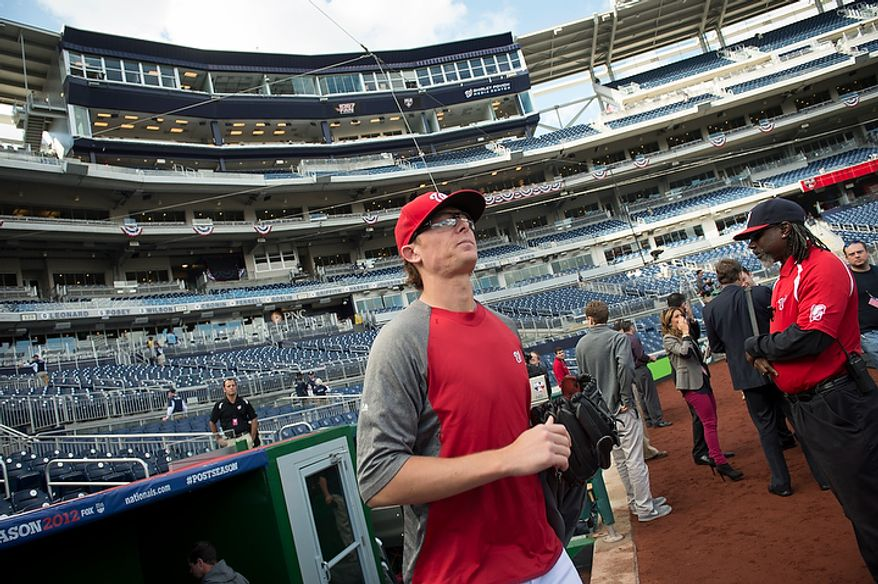 Washington Nationals player Tyler Clippard takes the field before the Nats play the St. Louis Cardinals in game three of the National League Division Series at Nationals Park in Washington on Wednesday, Oct. 10, 2012. (Rod Lamkey Jr./The Washington Times)
