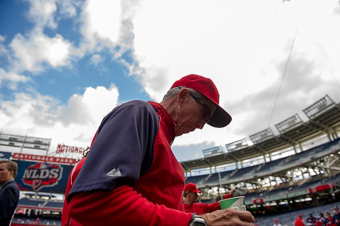 Washington Nationals manager Davey Johnson is pictured before the Washington Nationals play the St. Louis Cardinals in game three of the National League Division Series at Nationals Park in Washington on Wednesday, Oct. 10, 2012. (Andrew Harnik/The Washington Times)