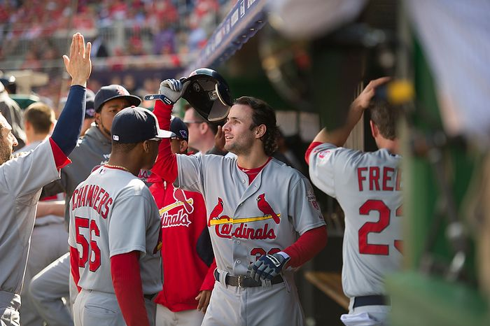Cardinals' Pete Kozma (38) is greeted in the dugout after his three-run home run in the top of the second inning as the Washington Nationals hosting the St. Louis Cardinals for Game 3 of the National League Division Series at Nationals Park in Washington, D.C., Wednesday, Oct. 10, 2012. (Rod Lamkey Jr./The Washington Times)