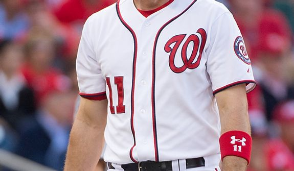 Washington Nationals third baseman Ryan Zimmerman (11) strikes out in the seventh inning as the Washington Nationals play the St. Louis Cardinals in game three of the National League Division Series at Nationals Park, Washington, D.C., Wednesday, October 10, 2012. (Andrew Harnik/The Washington Times)