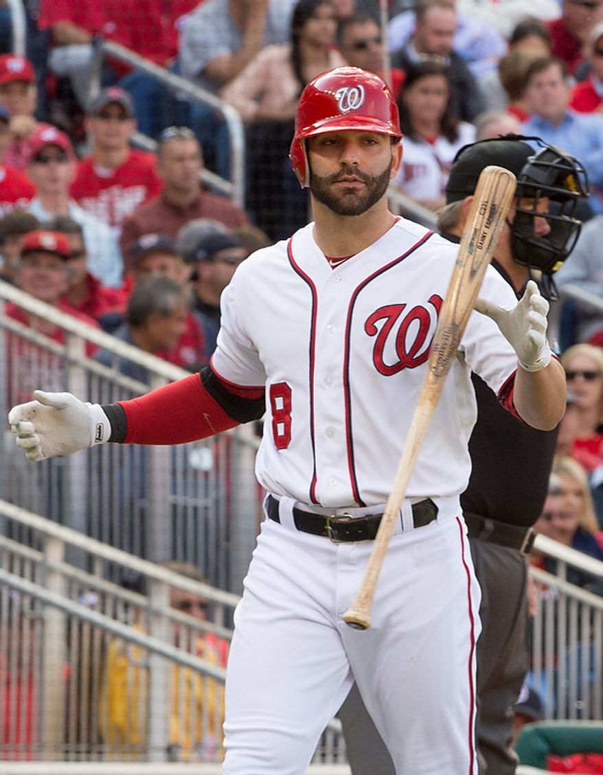 Washington Nationals second baseman Danny Espinosa (8) strikes out in the eight inning as the Washington Nationals play the St. Louis Cardinals in game three of the National League Division Series at Nationals Park, Washington, D.C., Wednesday, October 10, 2012. (Andrew Harnik/The Washington Times)