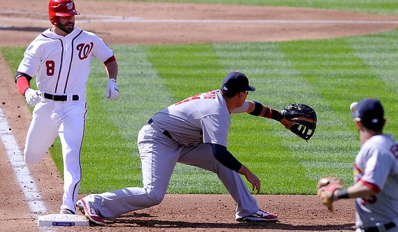 Despite beating the throw, Washington Nationals second baseman Danny Espinosa (8) is called out at first on a sacrifice bunt in the second inning in Game 3 of the National League Division Series at Nationals Park, Washington, D.C., Oct. 10, 2012. (Preston Keres/Special to The Washington Times)