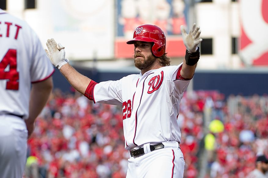 Washington Nationals right fielder Jayson Werth (28) claps his hands as he hits a single as the lead off hitter in the first inning as the Washington Nationals play the St. Louis Cardinals in game three of Major League Baseball playoffs at Nationals Park, Washington, D.C., Wednesday, October 10, 2012. (Andrew Harnik/The Washington Times)