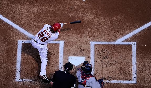 Washington Nationals Jayson Werth singles on a line drive to center field for his team's first hit in Game 3 of the National League Division Series at Nationals Park, Washington, D.C., Oct. 10, 2012. (Preston Keres/Special to The Washington Times)