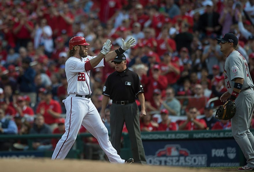 Nationals' Jayson Werth reacts to the National's first hit of the game, his single in the bottom of the first inning as the Washington Nationals host the St. Louis Cardinals for Game 3 of the National League Division Series at Nationals Park in Washington, D.C., Wednesday, Oct. 10, 2012. (Rod Lamkey Jr./The Washington Times)