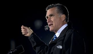 Republican presidential candidate Mitt Romney speaks Oct. 9, 2012, during a campaign rally in Cuyahoga Falls, Ohio. (Associated Press)
