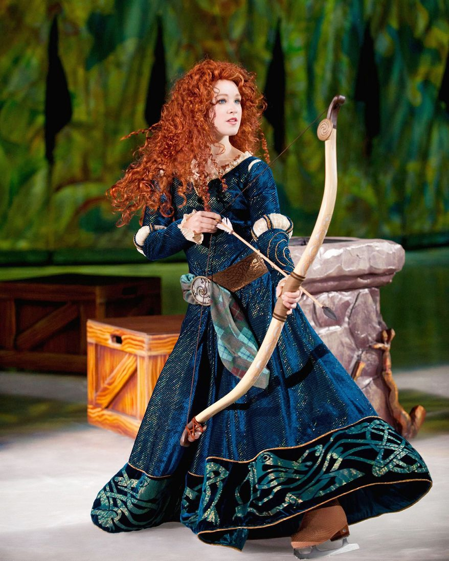 Merida from the hit Disney Pixar film BRAVE makes her skating debut in Disney On Ice presents Rockin' Ever After. (Feld Entertainment, Inc.)