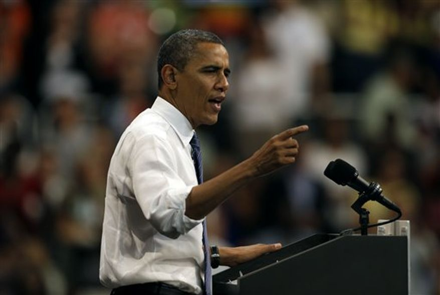 **FILE** President Obama speaks during a Oct. 11, 2012, campaign event at the University of Miami in Coral Gables, Fla. (Associated Press)