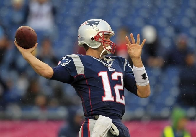 New England Patriots quarterback Tom Brady warms up before an NFL football game against the Denver Broncos Sunday, Oct. 7, 2012 in Foxborough, Mass. (AP Photo/Steven Senne)