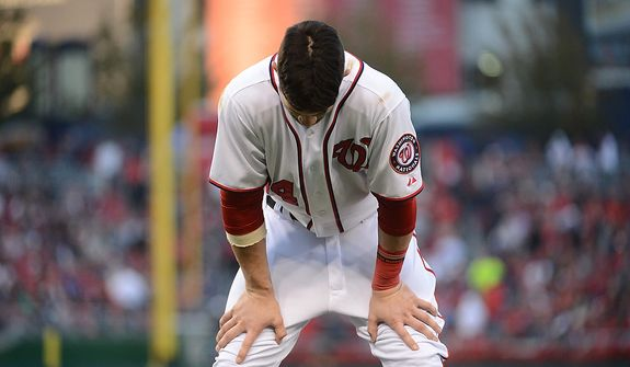 Bryce Harper shows his disappointment at striking out in the bottom of the sixth inning during Game 4 of the National League Division Series between the Washington Nationals and the St. Louis Cardinals at Nationals Park, Thursday, October 11, 2012. (Andrew Harnik/The Washington Times)