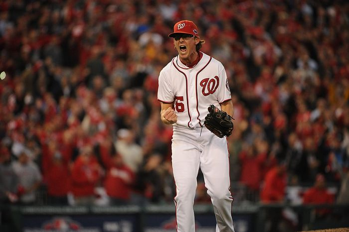 Washington Nationals relief pitcher Tyler Clippard (36) reacts after striking out the side in the eight inning of Game 4 of the National League Division Series between the Washington Nationals and the St. Louis Cardinals at Nationals Park, Thursday, October 11, 2012. (Andrew Harnik/The Washington Times)