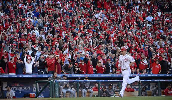 Nationals first baseman Adam LaRoche (25) rounds the bases after his solo home-run in the bottom of the second inning to give the Nats a 1-0 lead inGame 4 of the National League Division Series between the Washington Nationals and the St. Louis Cardinals at Nationals Park, Thursday, October 11, 2012.  Game 4 of the National League Division Series between the Washington Nationals and the St. Louis Cardinals at Nationals Park, Thursday, October 11, 2012. (Andrew Harnik/The Washington Times)