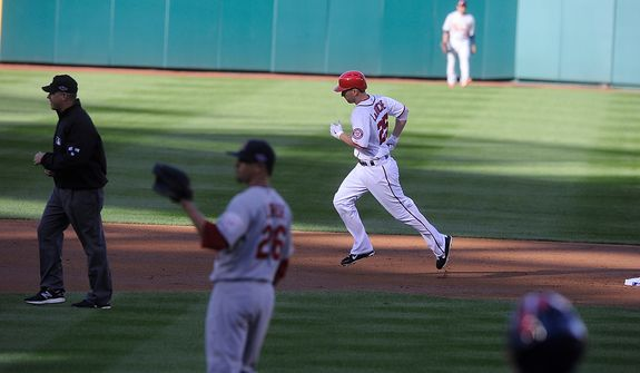 Nationals first baseman Adam LaRoche (25) rounds the bases after his solo home-run in the bottom of the second inning to give the Nats a 1-0 lead inGame 4 of the National League Division Series between the Washington Nationals and the St. Louis Cardinals at Nationals Park, Thursday, October 11, 2012. (Preston Keres/Special to The Washington Times)