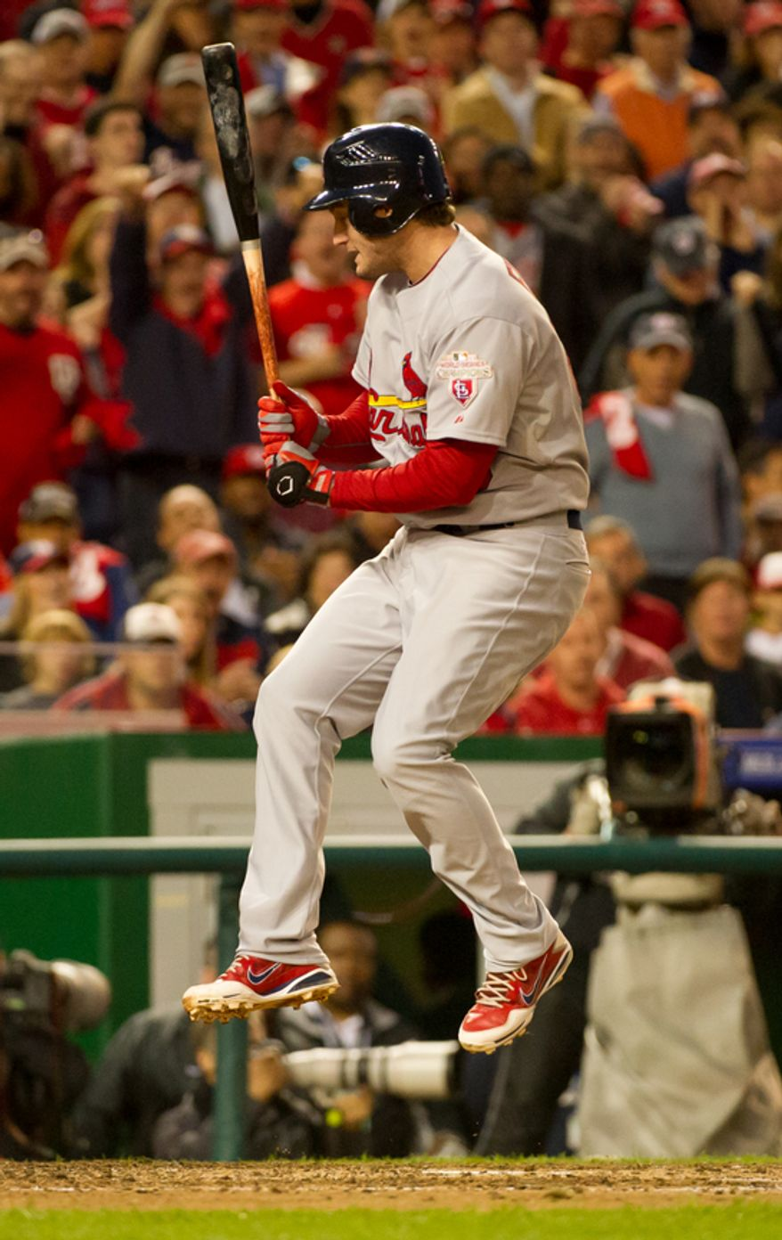 St. Louis Cardinals third baseman David Freese (23) reacts as he is struck out in the 9th inning as the Washington Nationals play the St. Louis Cardinals in game four of the National League Division Series at Nationals Park, Washington, D.C., Thursday, October 11, 2012. (Andrew Harnik/The Washington Times)