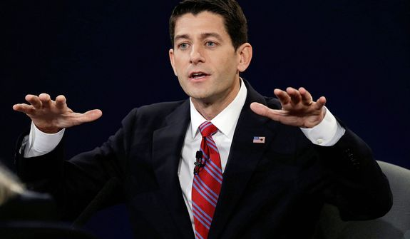 Republican vice presidential nominee Rep. Paul Ryan of Wisconsin answers a question during the vice presidential debate at Centre College. (AP Photo/Charlie Neibergall)