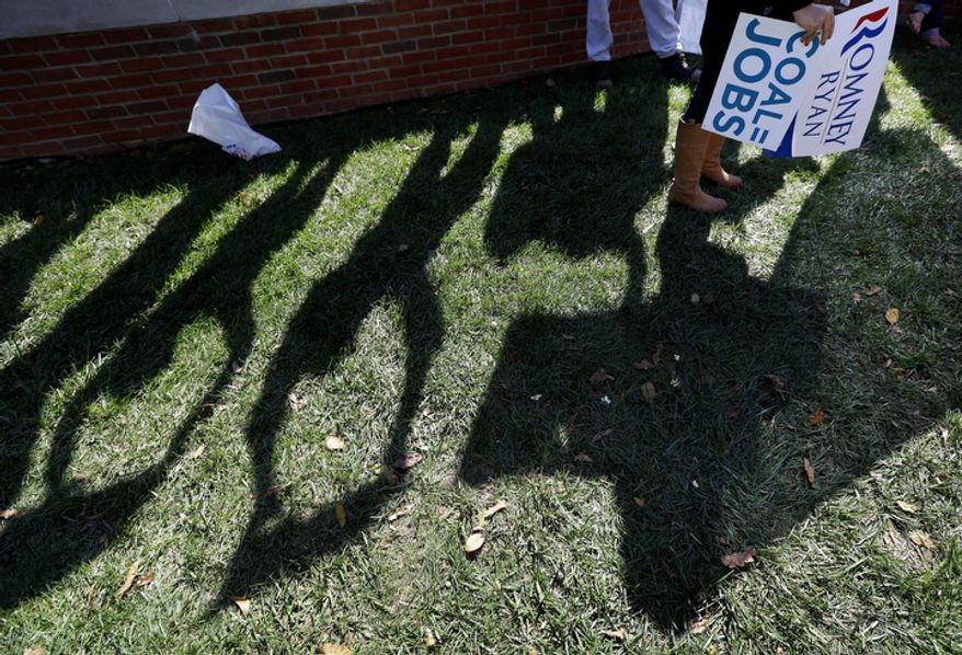 Supporters wave signs during a rally outside the Norton Center on the Centre College campus in Danville, Ky., before the vice presidential debate on Oct. 11, 2012. Vice President Joseph R. Biden will face Republican vice presidential candidate Paul Ryan. (Associated Press)