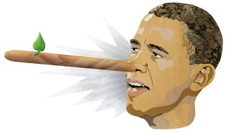 Illustration Obamaliar by Greg Groesch for The Washington Times