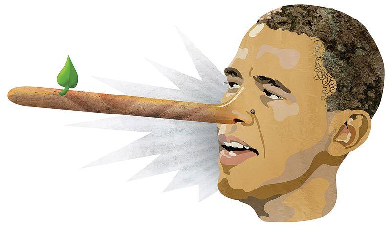 Illustration Obamaliar by Greg Groesch for The Washington Times