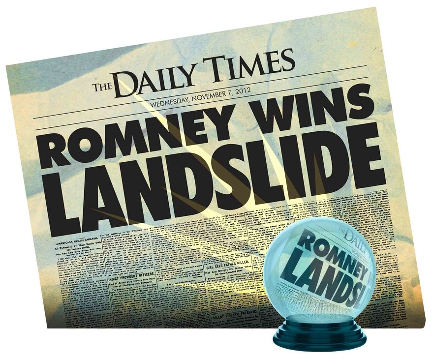 Illustration Predicting a Romney Win by Greg Groesch for The Washington Times