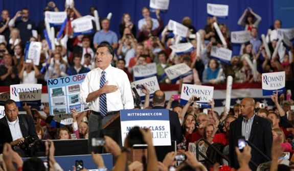 Republican presidential candidate, former Massachusetts Gov. Mitt Romney speaks during a campaign rally at the U.S. Cellular Center on Thursday, Oct. 11, 2012, in Asheville, N.C. (AP Photo/Matt Rose)