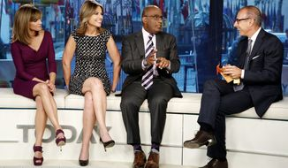 """During the first six months of this year, """"Today"""" averaged just under 5.2 million viewers each weekday. Since July 2, the audience has dropped to 4.59 million, according to Nielsen. """"Today"""" show co-hosts on the set in September are (from left) Natalie Morales, Savannah Guthrie, Al Roker and Matt Lauer. (NBC via Associated Press)"""