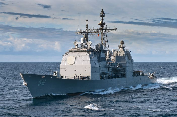 ** FILE ** The guided-missile cruiser USS San Jacinto sails in the Atlantic Ocean on Tuesday, June 6, 2012. (AP Photo/U.S. Navy, Spc. 1st Class Tommy Lamkin)
