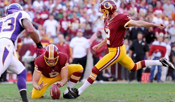 Washington Redskins kicker Kai Forbath (2) kicks a 50-yard field goal in the second quarter for the first Redskins score. (Preston Keres/Special to The Washington Times)