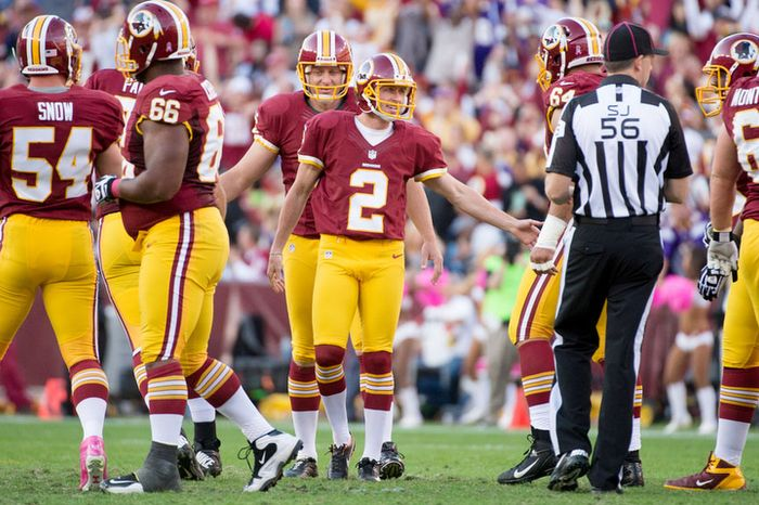 Washington Redskins kicker Kai Forbath (2) kicks a 50 yard field goal in the second quarter to put the first points on the board for the Washington Redskins as they play the Minnesota Vikings. (Andrew Harnik/The Washington Times)