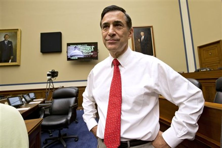 House Oversight Committee Chairman Rep. Darrell Issa, California Republican, arrives on Capitol Hill in Washington, Wednesday, Oct. 10, 2012, for a hearing on the attack on the American consulate in Benghazi, Libya that resulted in the death of U.S. Ambassador Christopher Stevens. (AP Photo/J. Scott Applewhite)