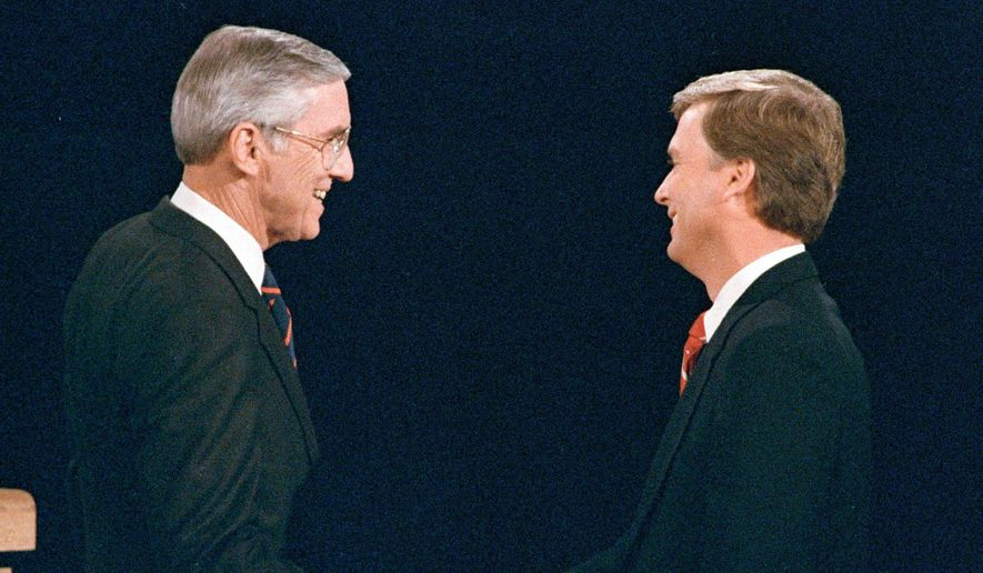 Democrat Lloyd Bentsen (left) and Republican Dan Quayle in 1988 were relative centrists compared with this year's vice presidential candidates, says the leader of the American Conservative Union. (Associated Press/File)
