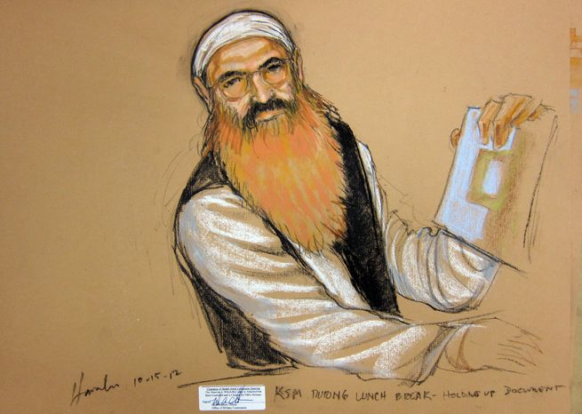 ** FILE ** In this photo of a sketch by courtroom artist Janet Hamlin and reviewed by the U.S. Department of Defense, Khalid Sheikh Mohammed holds up a piece of paper during a court recess Oct. 15, 2012, at his Military Commissions pretrial hearing in the Guantanamo Bay U.S. Naval Base in Cuba. (Associated Press)