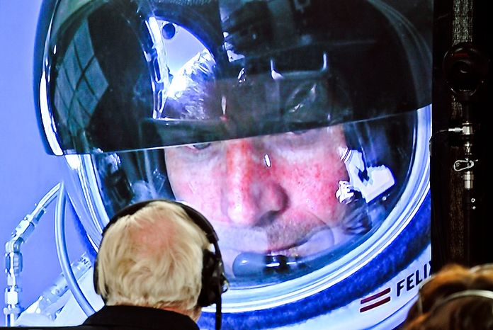 In this photo provided by Red Bull, pilot Felix Baumgartner of Austria is seen in a screen at mission control center in the capsule during the final manned flight for Red Bull Stratos in Roswell, N.M. on Oct. 14, 2012.   Baumgartner plans to jump from an altitude of 120,000 feet, an altitude chosen to enable him to achieve Mach 1 in free fall, which would deliver scientific data to the aerospace community about human survival from high altitudes. (Associated Press/Red Bull)