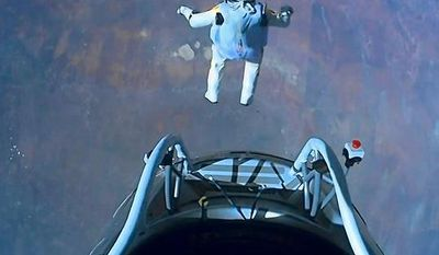 Editorial Use OnlyFelix BaumgartnerRed Bull Stratos, Roswell, New Mexico, America - 14 Oct 2012 (Rex Features via AP Images)